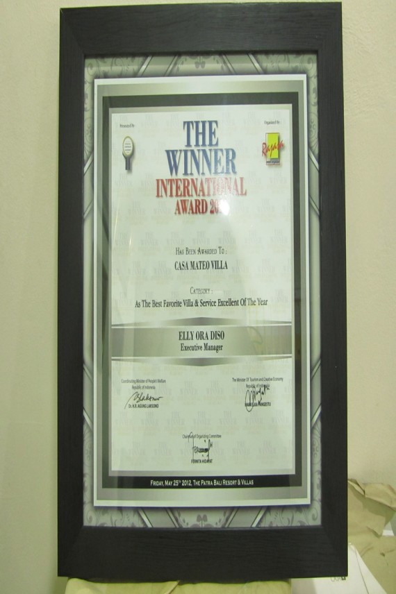 The Best Favorite Villa & Service Excellent of The Year 2012